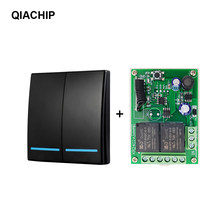 QIACHIP 433MHz RF Wireless RF Relay 2CH 6V 24V Receiver Smart Home Switch Module 86 Wall Panel Remote Control Switch 10A(China)