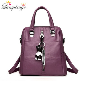 Image 2 - LANYIBAIGE Fashion Women Small Bear Pendant Backpack High Quality Leather Backpacks For Teenage Girls Female School Shoulder Bag