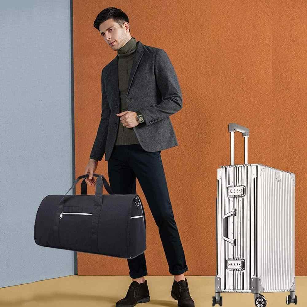 Pokrowiec na ubrania dla mężczyzn, 2 w 1 kabriolet worek marynarski torba podróżna przenośna torba na lot z paskiem na ramię