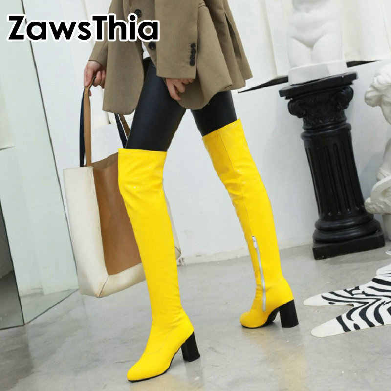 ZawsThia colorful green yellow red white orange patent pu glossy woman boots block high heels stretch over the knee high boots
