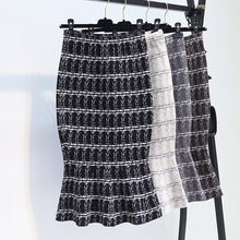 Grade fishtail malha saias feminino novo inverno longo pacote falbala em restaurar antigas formas de cintura alta quadril um ritmo