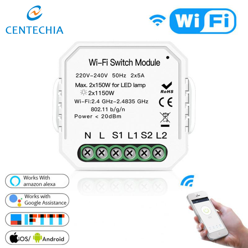 2 Way Tuya Smart Life Wifi Smart Light Switch Relay Breaker Module Automation Remote Control Works With Amazon Google Home Alexa