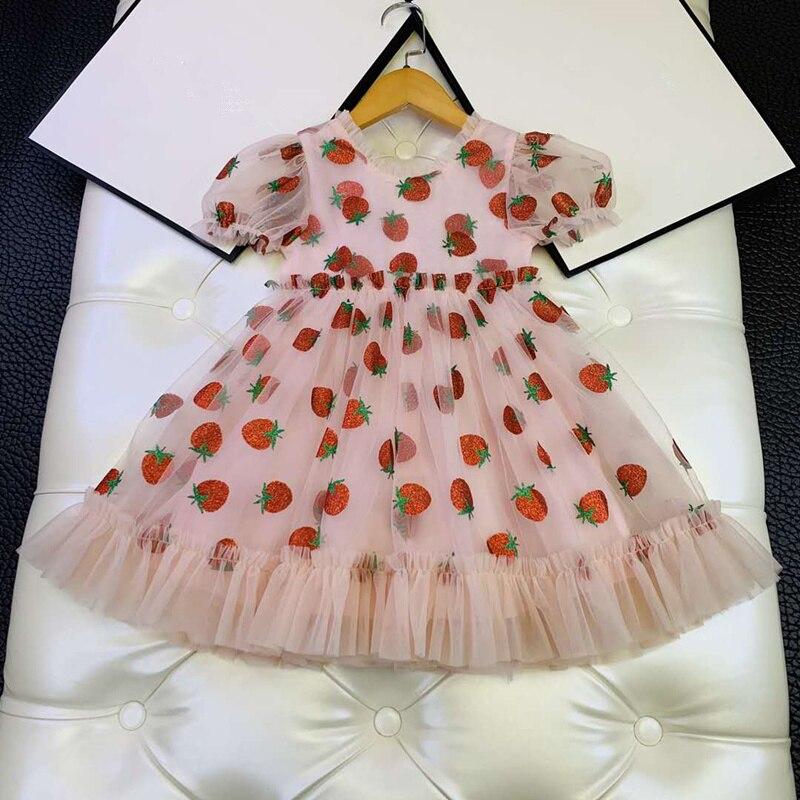 European And American Parent-child Summer New 2020 Children's Wear  Short Sleeve Strawberry Sequined Gauze Pink  Baby Girl Dress