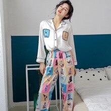 Женские шелк атлас пижамы пижамы комплект одежда для сна пижама пижамы костюм женский сон два предмет комплект принт домашняя одежда большие размеры