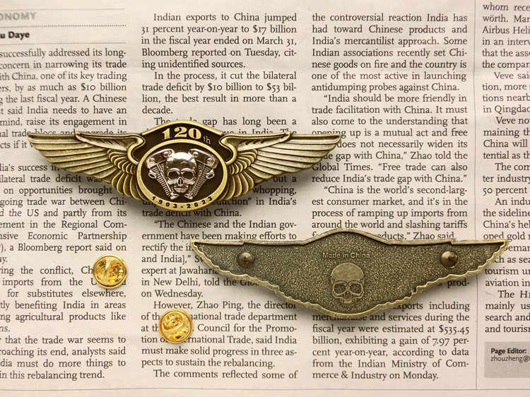 120th Anniversary Motorcycle Biker Metalen Messing Badges Broches Schedel Vleugels Punk Badge Voor Kleding Hoed Retro Kraag Pin Broche