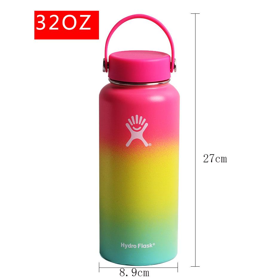 2020 New Hydro Flask Water Bottle with Straw Hydroflask Stainless Steel Water Bottles 18/32oz Outdoors Sports Drink Bottle 3