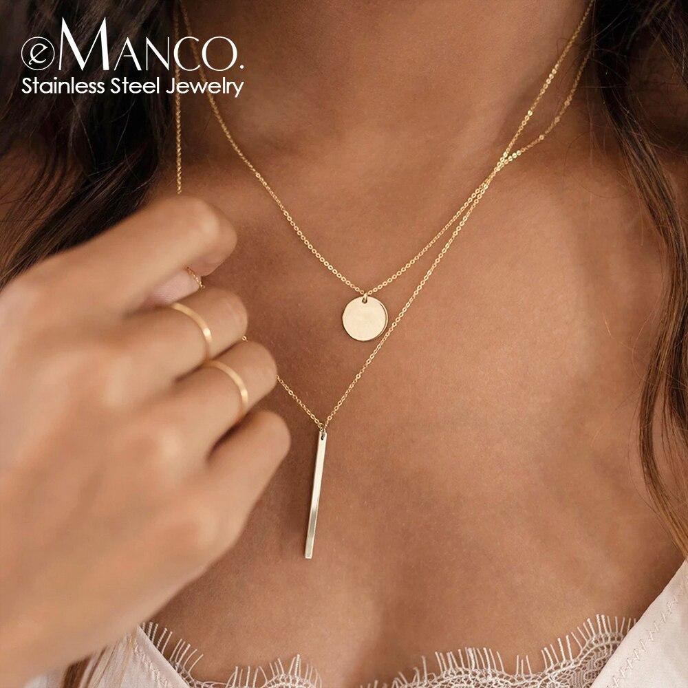 EManco подвески 2 шт., минималистичное ожерелье из нержавеющей стали 316L для женщин, ожерелье из титановой стали, ювелирные изделия