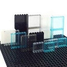 10 adet kapı pencere ahşap çatkı duvar şehir DIY yapı bloğu 1*6*5 1*4*3 cam şeffaf Panel ev parçaları MOC tuğla inşaat oyuncak