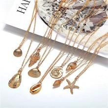 HOCOLE Fashion Shell Starfish Pendant Necklace For Women Bohemian Vinatge Gold Color Charm Chain Choker Jewelry Brincos