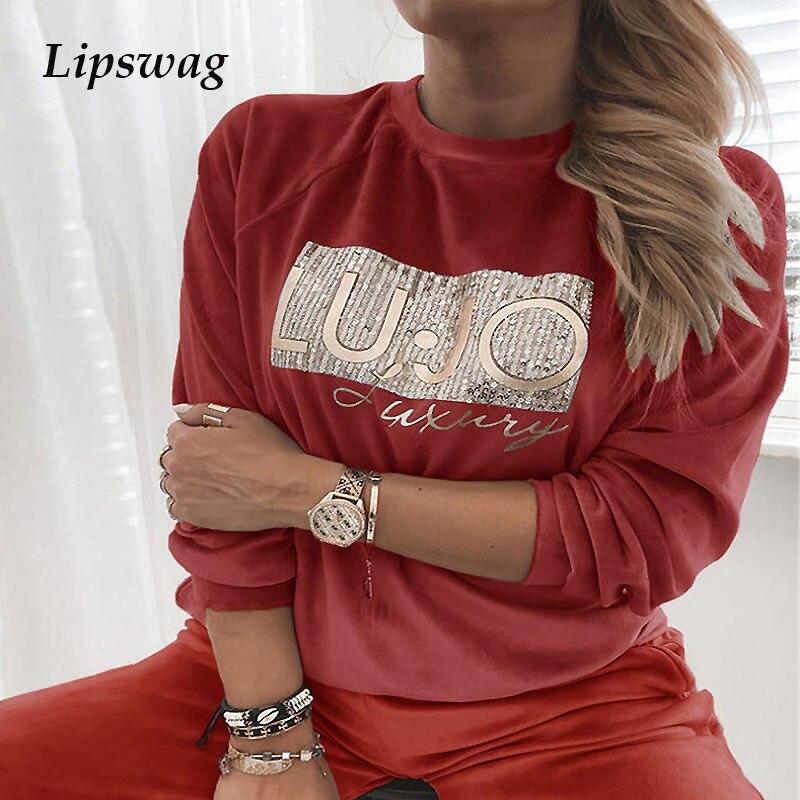 Элегантная бархатная блузка с блестками, топы, женская рубашка с длинным рукавом и буквенным принтом, модный Свободный удобный теплый пулов...