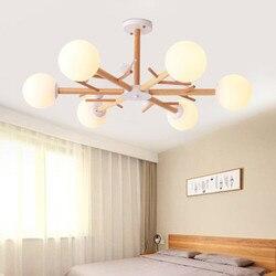 Nordic szklane żyrandole z drewna do salonu Cafe przemysłowe lustre plafonnier minimalistyczny żyrandol do sypialni|Wiszące lampki|   -