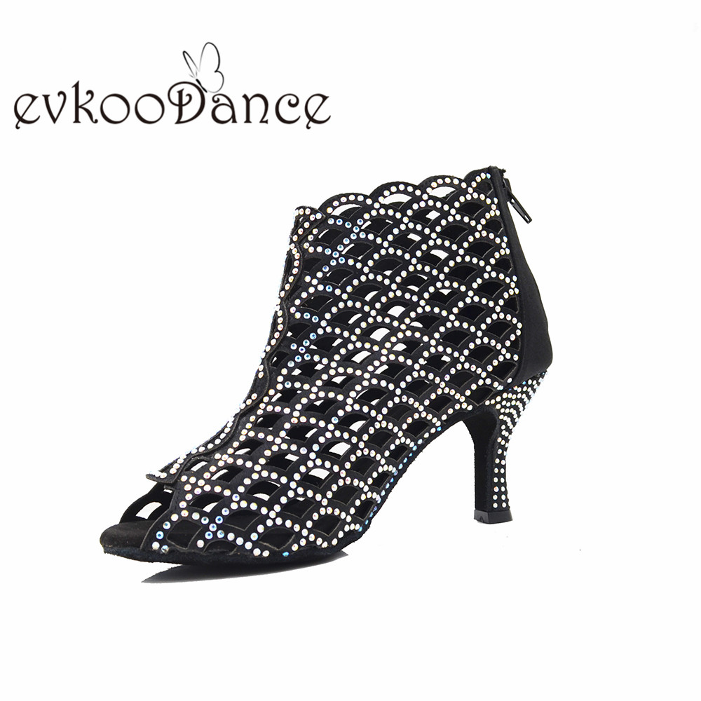 Size US4-12  Zapatos De Baile Heel Height 7cm Dance Shoes Latin Salsa For Women Black  With Rhinestone  Professional NL348
