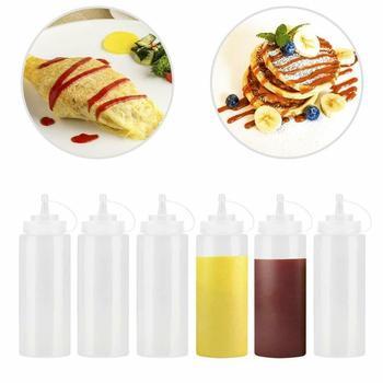 BBQ Ketchup Sauce 240ml butelki dozujące butelka dozująca majonez wycisnąć słoik z czapką bezpieczne plastikowe białe narzędzia kuchenne tanie i dobre opinie CN (pochodzenie) Pojemniki na sos Z tworzywa sztucznego Ekologiczne Na stanie