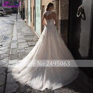 Image 2 - Fsuzwelロマンチックなストラップレス裁判所の列車aラインのウェディングドレス2020高級ビーズオフショルダープリンセスウェディングドレス