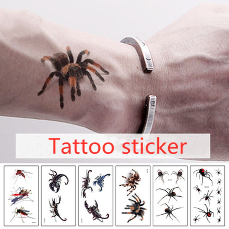 Hot 3D Spider Tatoo Scorpion Temporary Tattoo Stickers For Women And Men For Halloween Fake Tattoo Body Art Joke