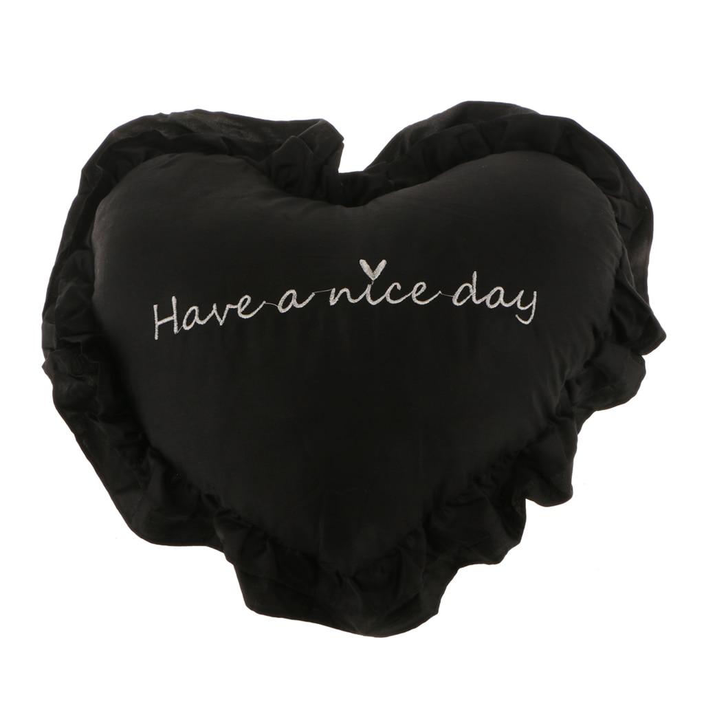 Хлопковая подушка в форме сердца, подушка для сидения, украшение дома, моющаяся, 40 см x 45 см - Цвет: Black
