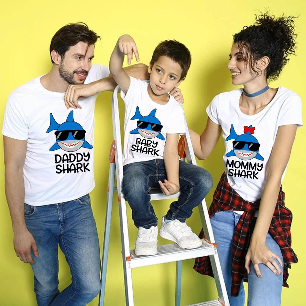 Daddy Mommy Son Shark Matching Family Outfits T-shirt 2020 Funny <font><b>Baby</b></font> Kid <font><b>Birthday</b></font> <font><b>Tshirt</b></font> Custom Your Name Clothes image