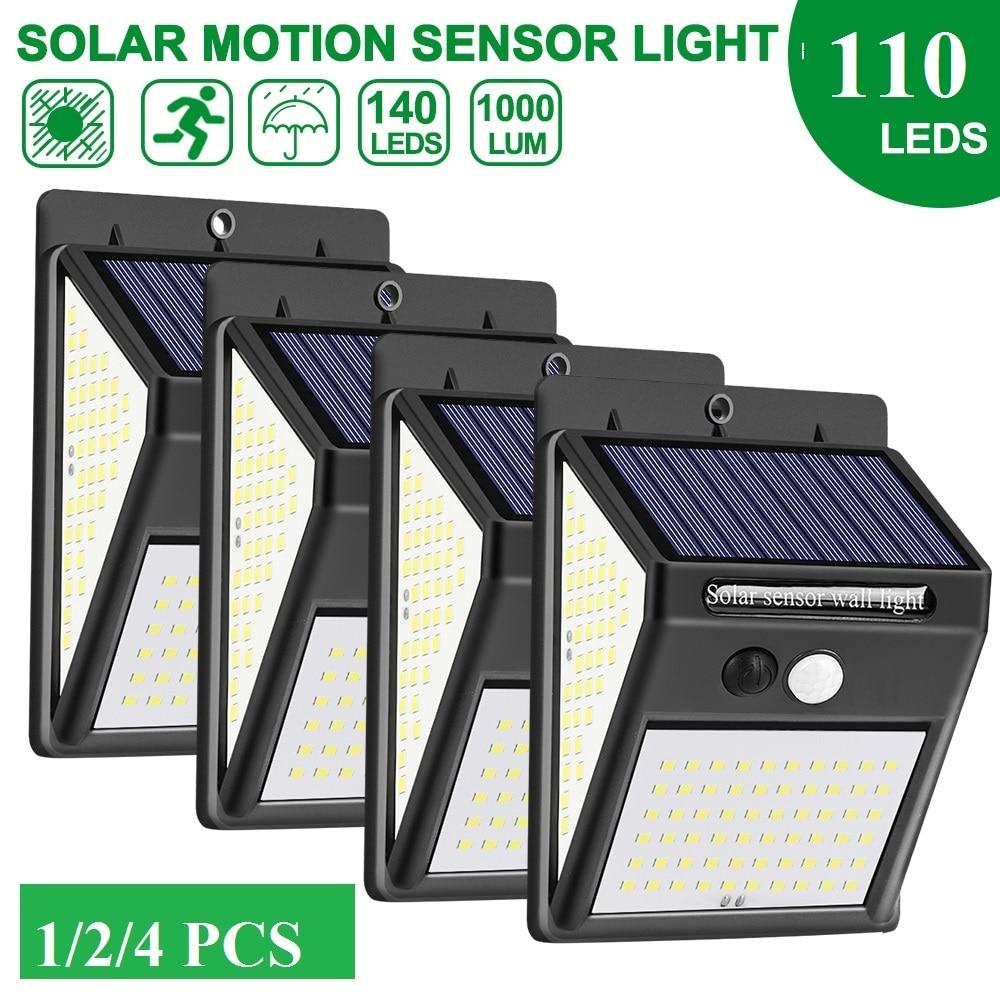 100led luz solar pir sensor de movimento parede luz jardim ao ar livre lâmpada segurança para decoração do jardim lanterna rua