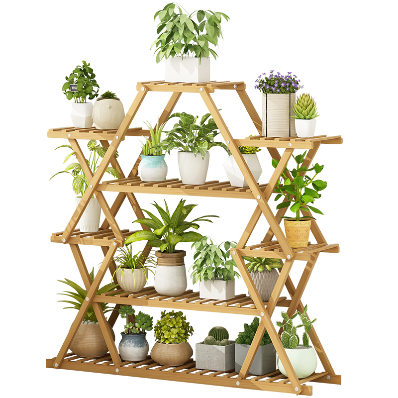 Balcony Flower Stand Rack Household Flower Pot Rack Solid Wood Decoration Fleshy Green Flower Shelf Indoor Special Multilayer