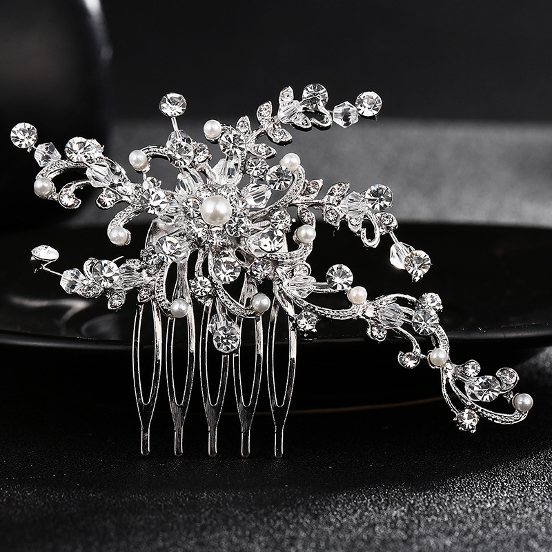 Crystal Flower Delicate Wedding Bridal Hair Comb Sparkling  And Leaf Shape Bridal Hair Headdress Accessories FS58