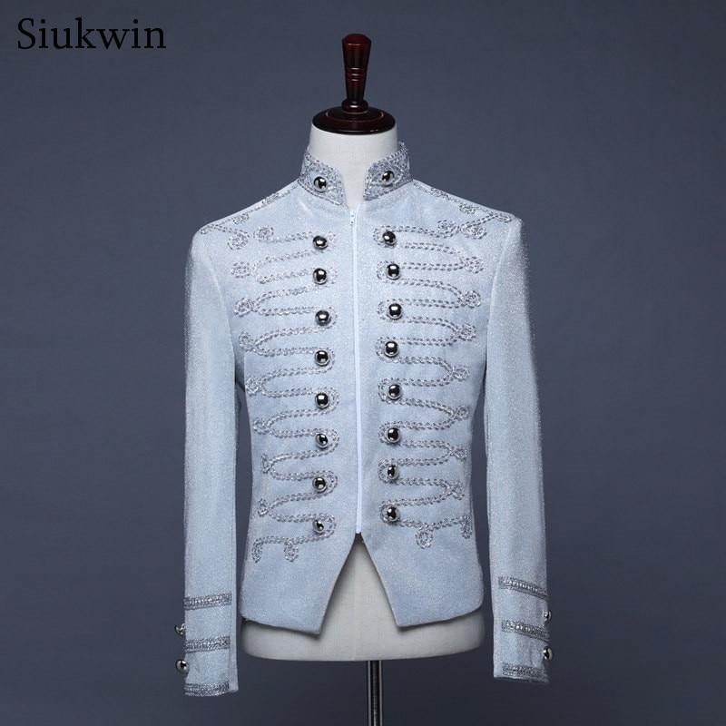 Jacket Men Performance Silver Blazer Costume Party-Dress Homme Wedding Nightclub