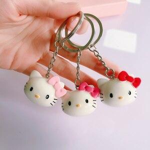 Брелок для ключей Hello Kitty, керамика, милый брелок для ключей с изображением кота из мультфильма, Очаровательные Брелки для девочек, Женская б...