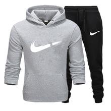 Новинка, комплекты для бега, мужские толстовки с капюшоном+ штаны, спортивные костюмы, комплект спортивной одежды для фитнеса, тренировок, спортзала, спортивный костюм с карманами, костюм для бега