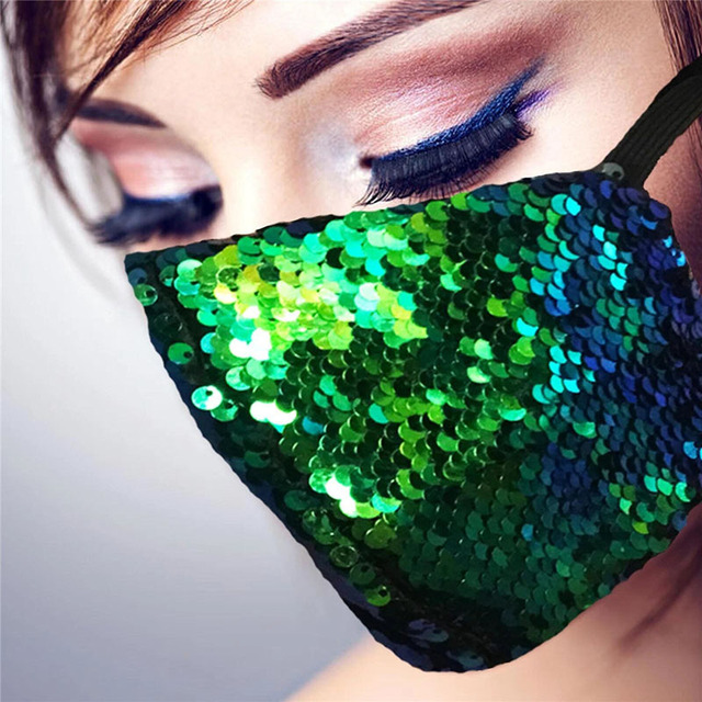 Shinny Bling Sequins Face Mask Party Shinee kpop anti dust face mask Washable Reuse Elastic Earloop Mouth Mask
