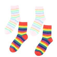 Japanese Women Girls Long Crew Socks Ice Cream Rainbow Colorful Stripes Hosiery