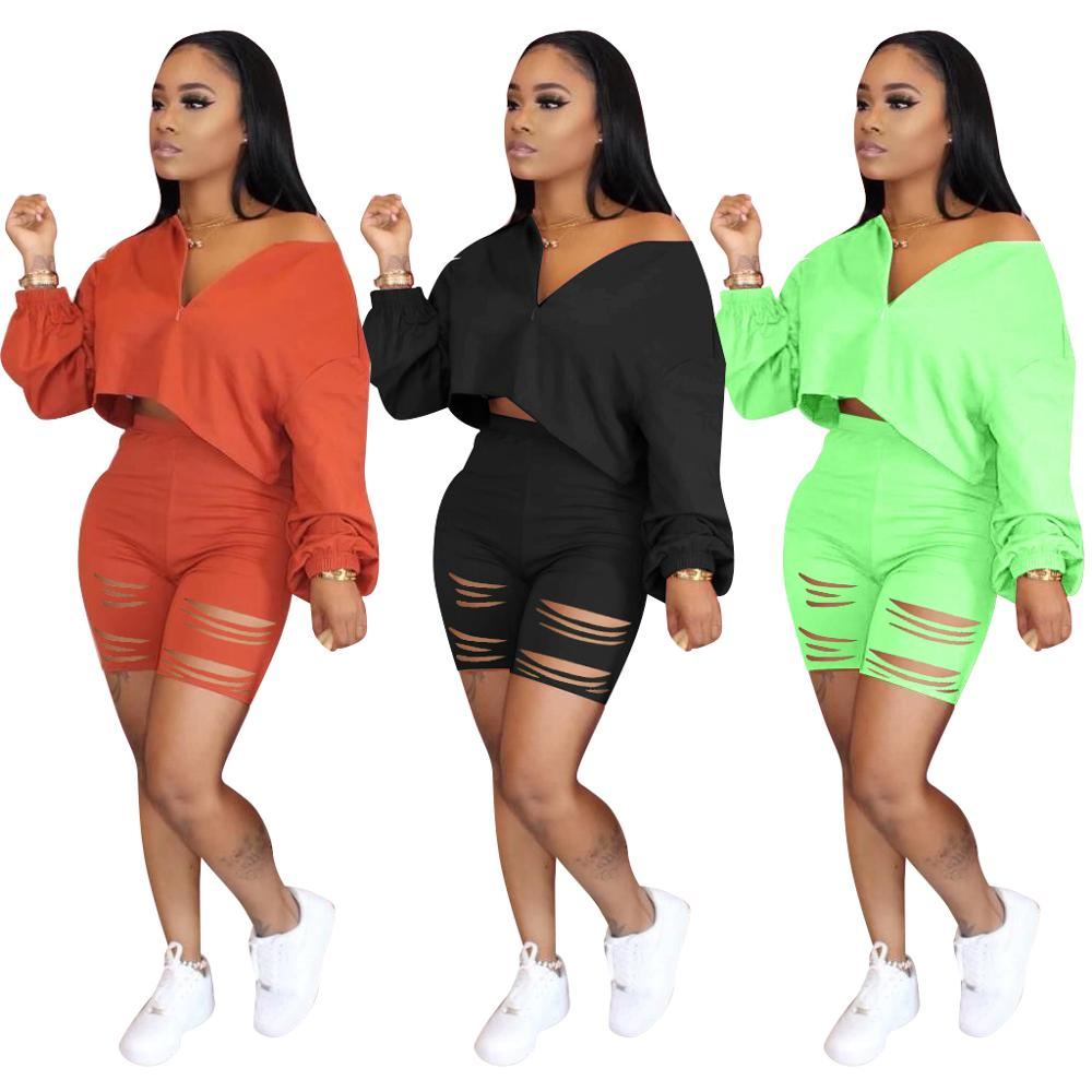 Echoine Crop Top Shorts Set Two Piece Set Hollow Out Pants Tracksuit Women Sweatshirt Jogging Femme Gym Running Shorts Set 2020