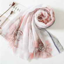 2019 floral voile women scarf  high quality summer women fashion spring shawl poncho and capes head scarf pashmina bufanda mujer chic rose floral pattern voile scarf for women
