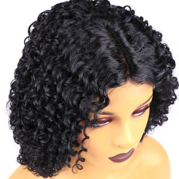 Peruka z lokami T częściowo koronka peruka front s dla kobiet perwersyjne kręcone koronkowa peruka na przód środku częściowo koronka Frontal peruka brazylijski kręcone ludzkie włosy tanie i dobre opinie Jarin Hair Remy włosy Średnia wielkość Ciemny brąz Ciemniejszy kolor tylko Elastyczne koronki Brazylijski włosy Natural Color