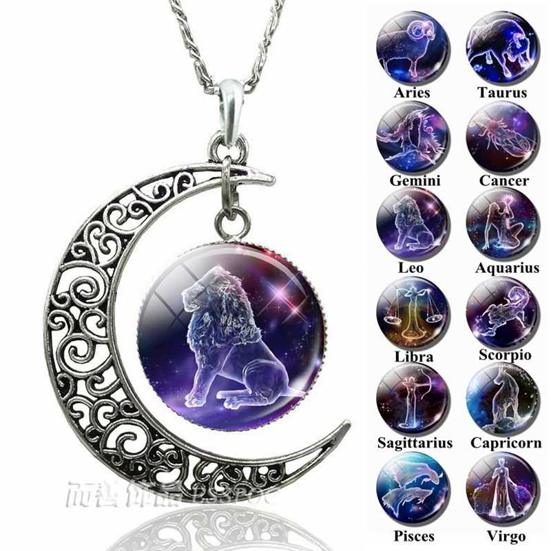 12 Zodiac Constellations Signs Glass Dome Crescent Moon Necklace Fashion Jewelry for Women Aries Gemini Cancer Leo Birthday Gift