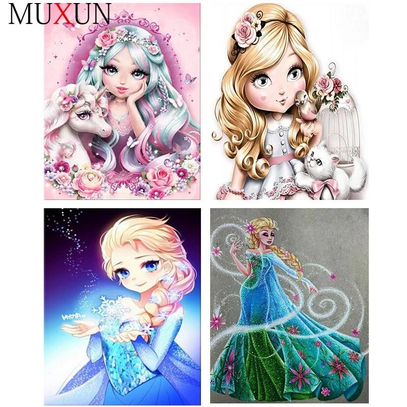 Full Square Diamond Embroidery Girl 5D DIY Diamond Painting Cross Stitch Cartoon Princess Round Diamond Mosaic