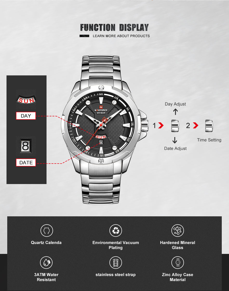 H12ee2be35718409baf02ca076e22c76cQ Men's Watches Top Luxury Brand NAVIFORCE Analog Watch Men Stainless Steel Waterproof Quartz Wristwatch Date Relogio Masculino