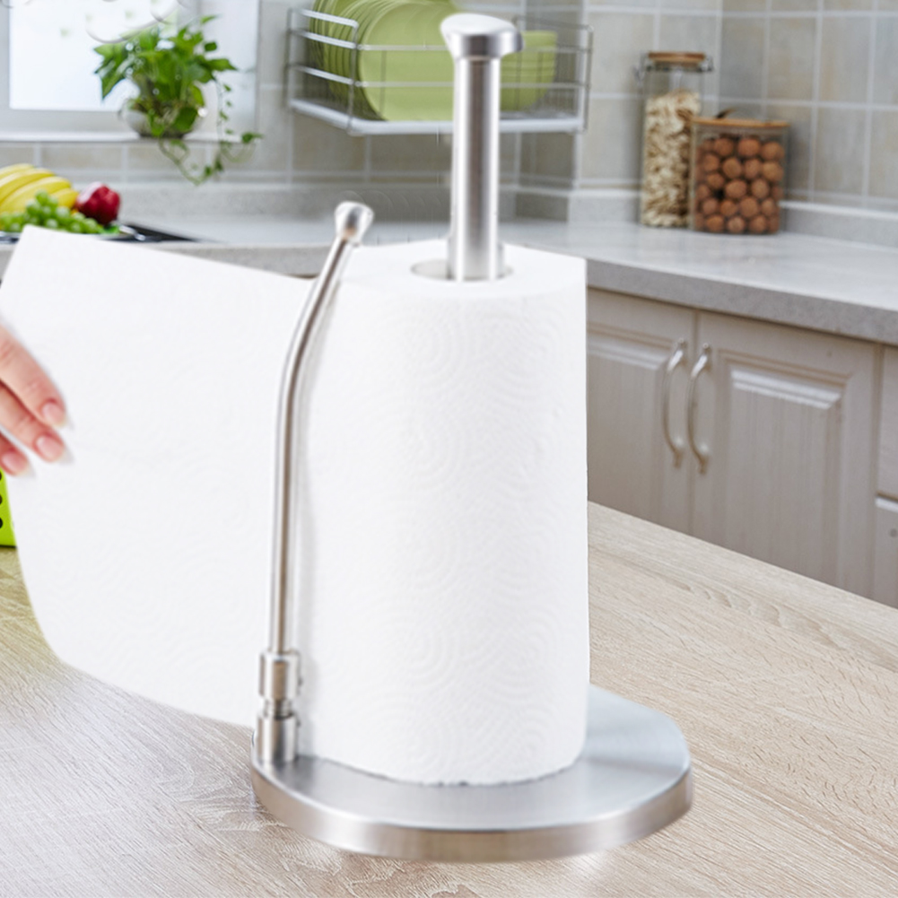 Stainless Steel Standing Tissue Holder One-Handed Tear Perfect Modern Design For Kitchen Keeps Kitchens Paper Towel Holder