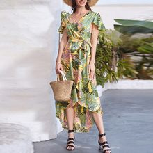 Women Summer Dress 2020 Bohomia Floral Print Maixi Dresses Fashion Belt Tunic Boho Eveing Party Long Dress Women Vestidos#J30(China)