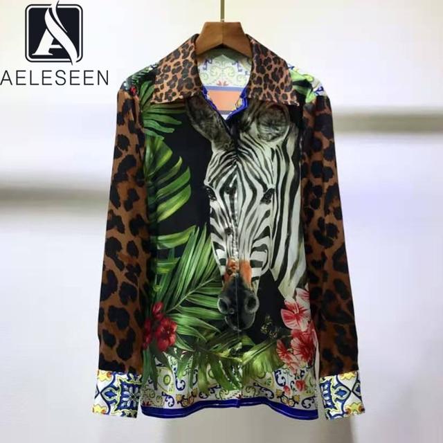 AELESEEN Luxury 100% TWILL SILK Shirts 2021 Spring Runway Fashion Leopard Animal Print Office Ladies Party Elegant Blouse XXXL 1