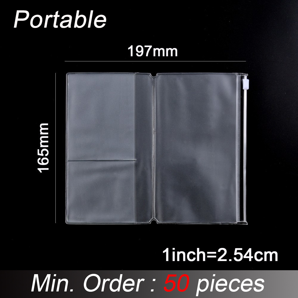 50 Pieces / Lot Portable Size 9.8x16.3cm PVC Zipper Bag For Travel Journal Leather Notebook Accessory Card Holder Storage