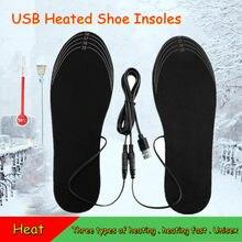 Plantillas calentadas con USB, calentador de pies eléctrico a prueba de frío y cálido, calentamiento recargable, recortable y lavable, Unisex