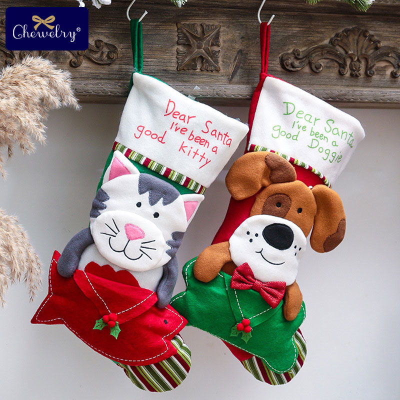 Christmas Stockings Santa Claus Sock Gift Kids Candy Bag Xmas Noel Decoration For Home Christmas Tree Ornaments Kids Products