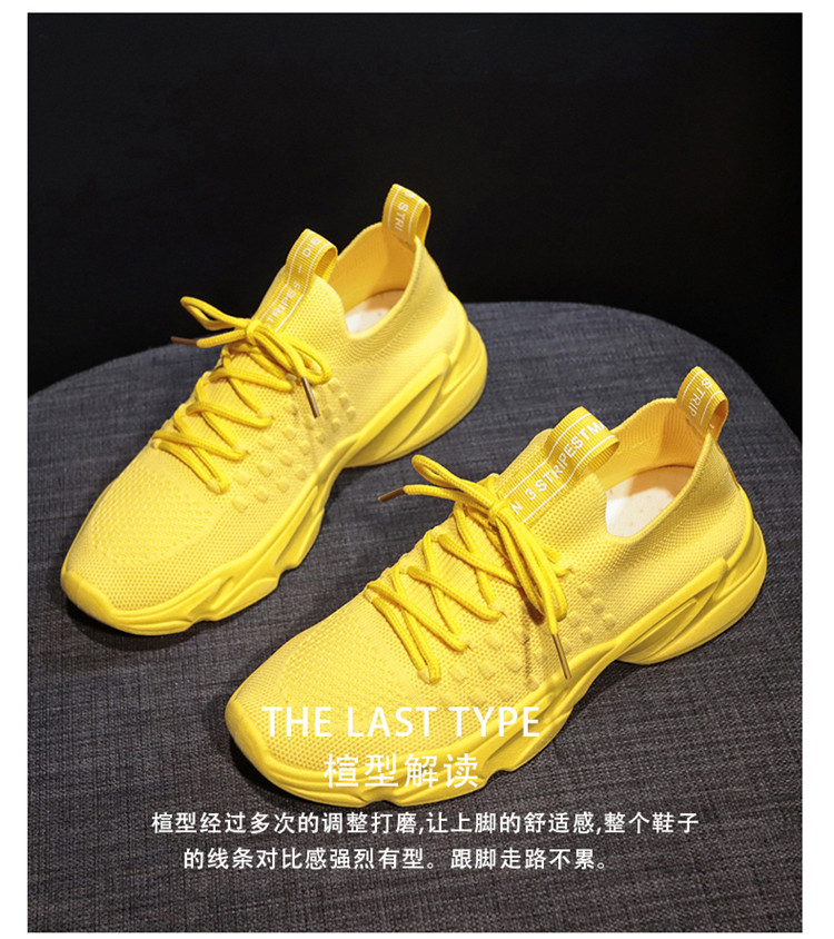 Women Sneakers Mango Yellow Casual Sport Shoes Solid Color Breathable Mesh Cloth Lace Up 35-40 Walking Shoes Soft Sole Trainers