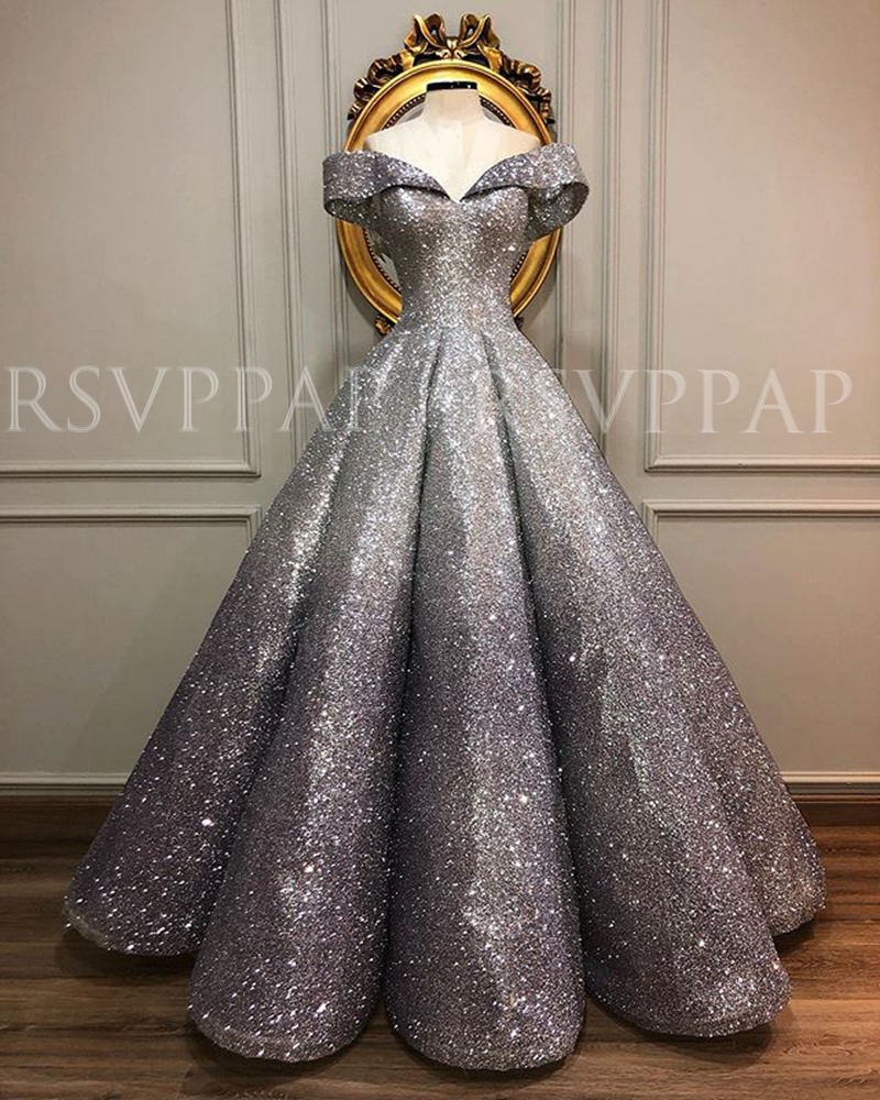 Long Glitter Arabic Evening Dresses 2020 V-neck Cap Sleeve Ball Gown Real Picture Formal Women Evening Gowns