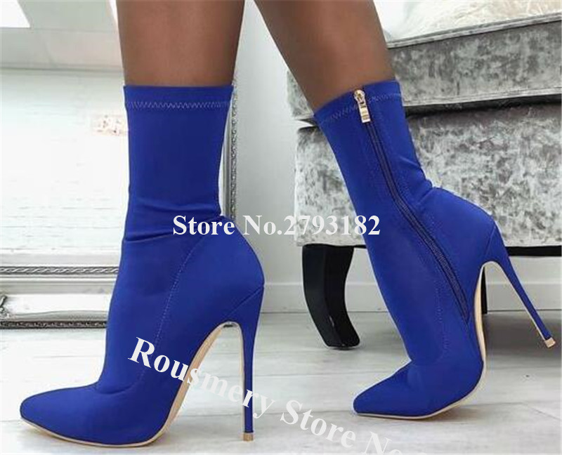 Women Fashion Pointed Toe Suede Stiletto Heel Short Boots Slim Banded Blue Red High Heel Ankle Booties Formal Dress Shoes