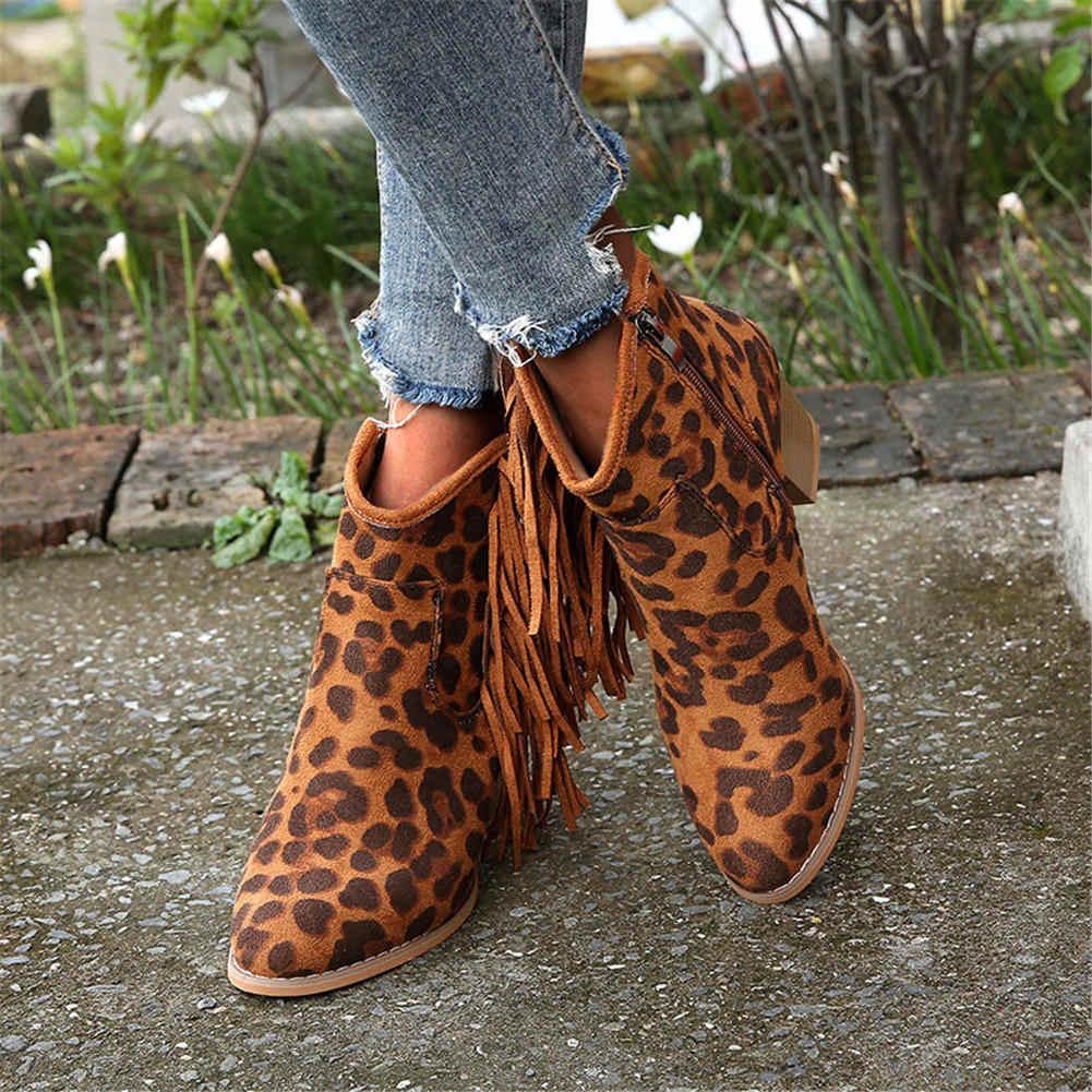 KarinLuna/2019 г. Большие размеры 43, ботильоны на высоком массивном каблуке Женская обувь женские ковбойские сапоги Вестерн без застежки с бахромой женская обувь
