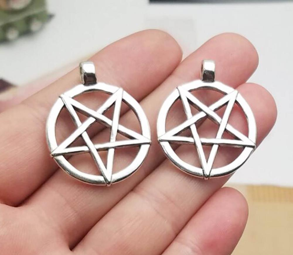 6 ANTIQUE SILVER PLATED PEACE SIGN CHARM BEADS 20MM