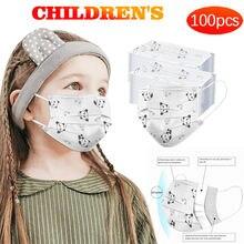 100 pces dos desenhos animados crianças máscara descartável 3 camada criança filtro higiene engrossar rosto boca máscara earloop rapidamente delievry