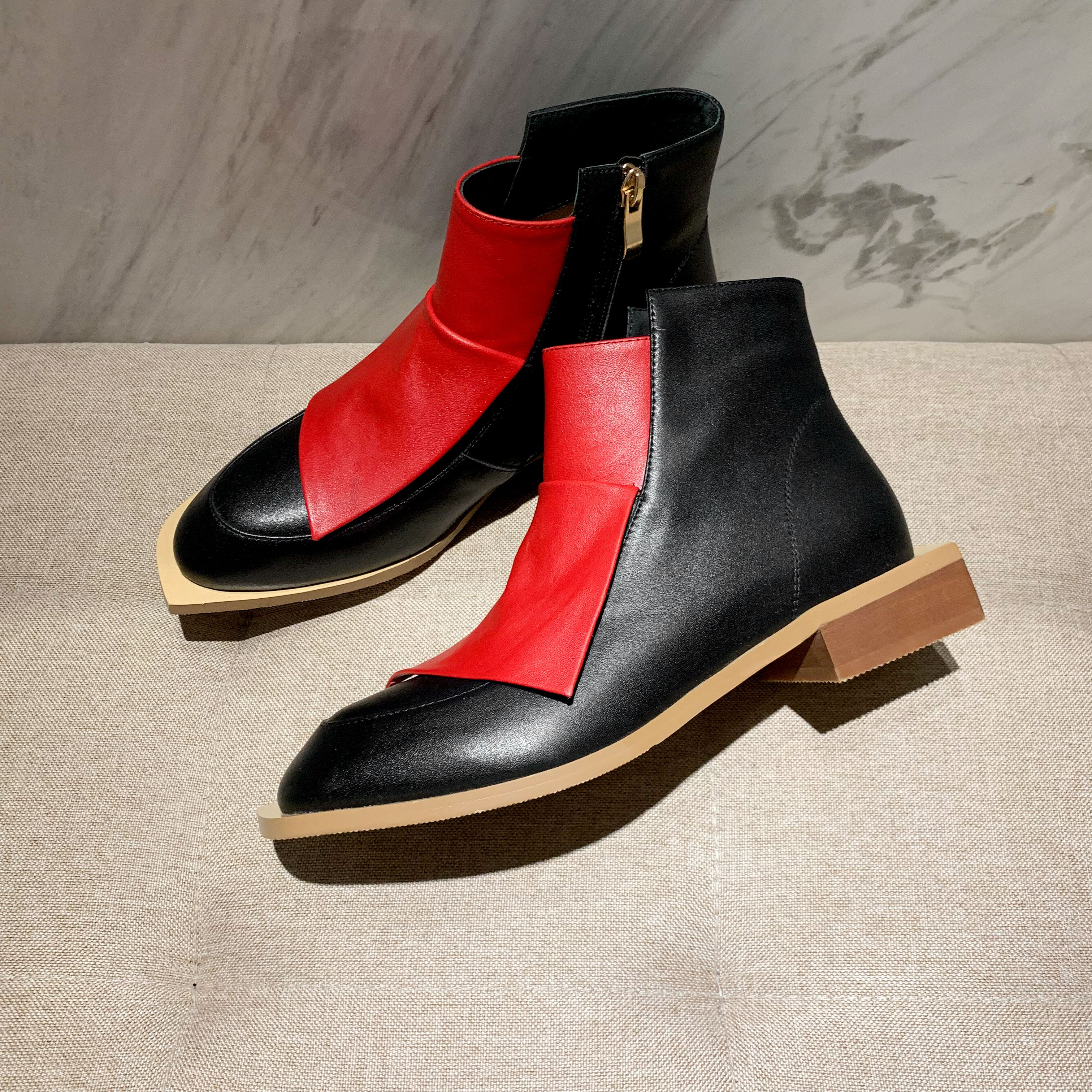 INS/популярные женские ботильоны модная женская обувь длиной 22 26,5 см двухцветные ботинки с вышивкой женские осенне зимние ботинки|Полусапожки|   | АлиЭкспресс