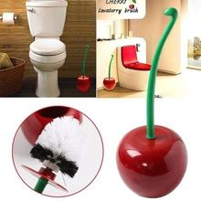 Toilet Bowl Brush Funny Cherry Design Bathroom Cleaning Tool Holder With Base Toilet Brush Home Cleaner(China)