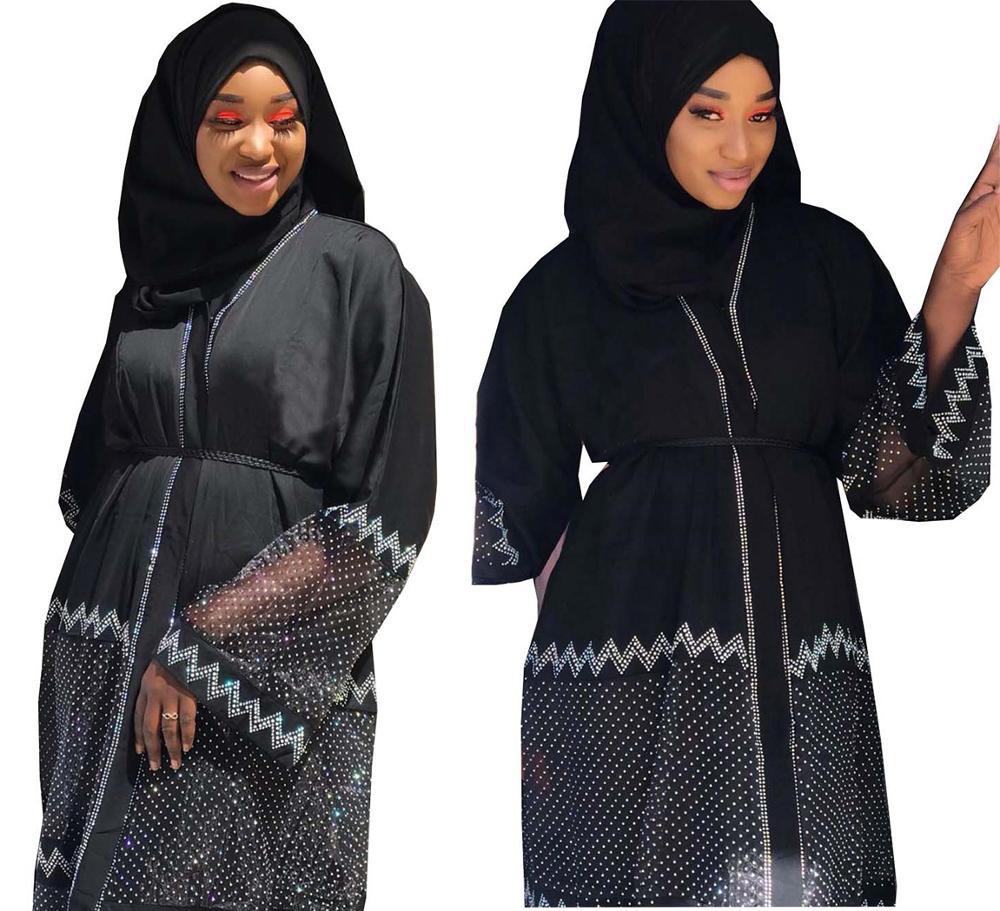 New Style African Dashiki Abaya Fashion Hot Drill Net Fabric Stretch With Scarf Long Dress Size XXL XXXL